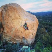 Rock Climbing Photo: Mark shaking out before making the terrifying top-...