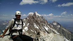 Summit of the South Teton after completing the Southern Grand Traverse in the Tetons on June 30, 2015