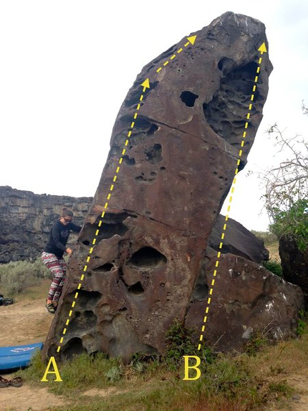 Kid Boulder south:<br> A) Holey Arete V0<br> B) The Bat Cave V2