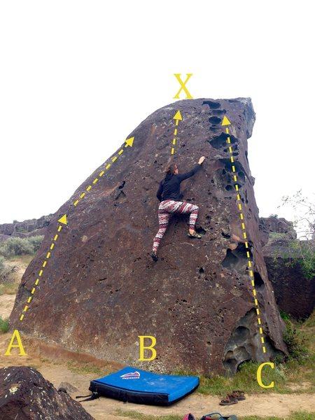 Rock Climbing Photo: Kid Boulder west: A) Dimple Arete V2 B) Kid Toprop...