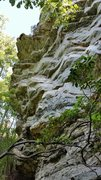 Rock Climbing Photo: The bolted section of the route climbs this dihedr...