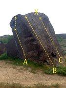 Rock Climbing Photo: Kid Boulder north: A) Kid Seam V0 B) Dimple Arete ...
