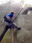 Rock Climbing Photo: Don't let the photo fool you that ledge seems far ...
