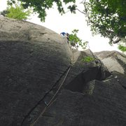 Rock Climbing Photo: Making the transition into the crack on ride the t...