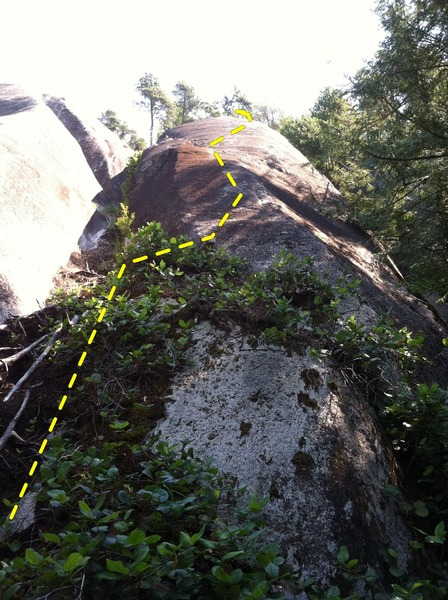 Rock Climbing Photo: The climb follows the obvious slab above the stump...