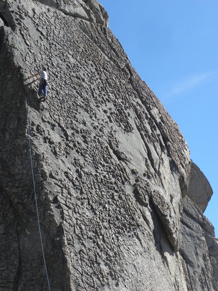 Vision Quest.  Climber is on the route Rainbow Oyster  (5.7).