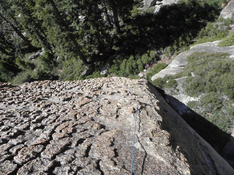 Rock Climbing Photo: Looking down from the belay of Rainbow Oyster.