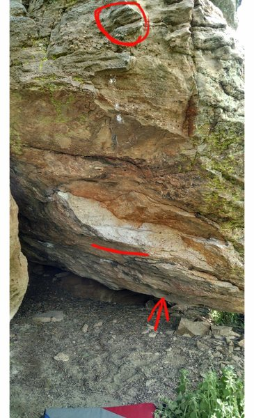 The start hold, the starting feet, and the goal of the dyno or big static move to get out of the cave.