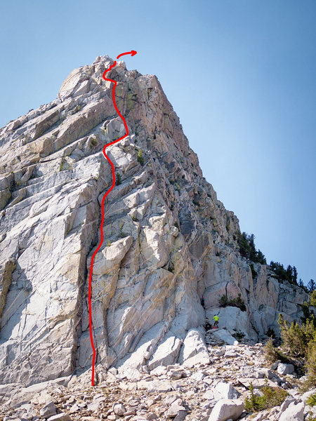 5.8 variation to the North Arete. Climbers can be seen on the standard route. The two routes merge about halfway up the wall.