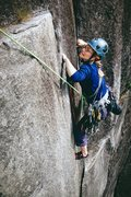 Rock Climbing Photo: Stella making the final moves at the top of Godzil...