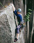 Rock Climbing Photo: Stella making the final traverse at the top of God...