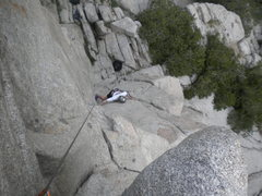 Rock Climbing Photo: Peter 'True Blue' Strazdins coming up second