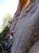 Rock Climbing Photo: The climbs are slabby and end at the roof.