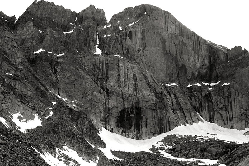 A view of the Diamond and the East Face of Long's from Chasm Lake, July 1 2015.