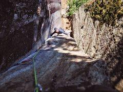 Rock Climbing Photo: Tony on pitch three of Rattletale