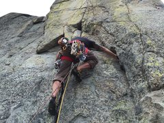 Rock Climbing Photo: Climbing Devaluation on Snowshed Wall, Donner Summ...