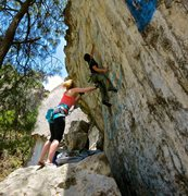 Rock Climbing Photo: Opening crux, big jump into the small pocket.