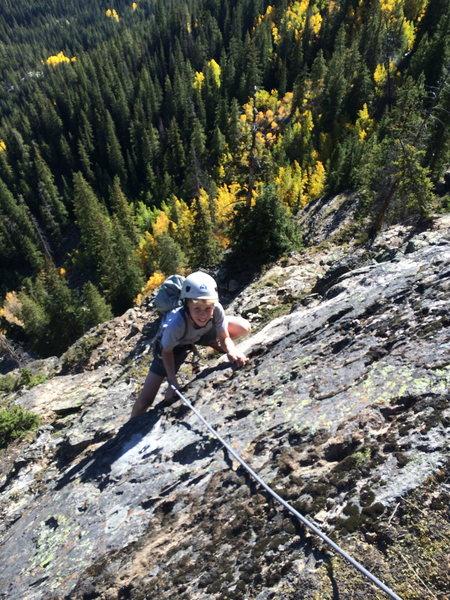 Wheeler climbing P5, 5.7.