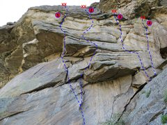 Rock Climbing Photo: The West Face of The Bunker from below.  1. Troope...