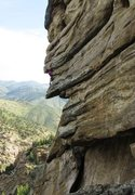 Rock Climbing Photo: Pulling onto the hanging slab.  The first crux is ...