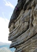 Rock Climbing Photo: The route ends with a pumpy foray through the slig...