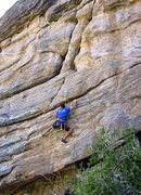 Rock Climbing Photo: The crux ends with a leftwards rail traverse to re...