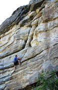 Rock Climbing Photo: Pulling up into the first crack.  It's pretty muc...