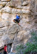 Rock Climbing Photo: Crossing the band of flaky pegmatite.  The crux be...