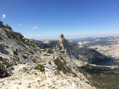 Rock Climbing Photo: Descent:  From summit make your way to the saddle ...