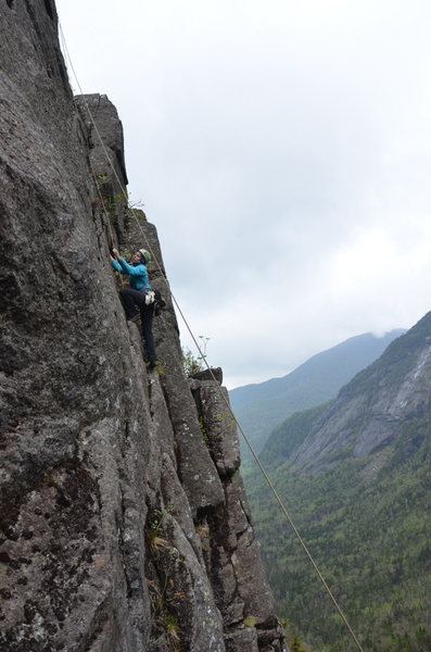 Allison Rooney climbing after Adam Crofoot led the route during the FA.