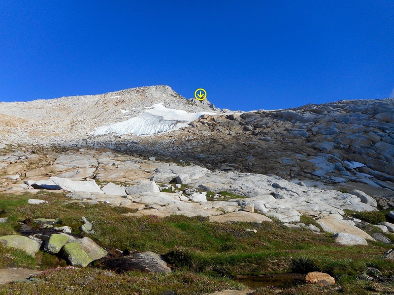 The route. From Tower Pass, zig and zag your way to the NW chute.