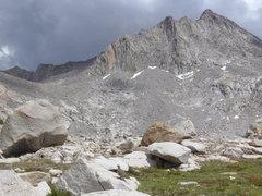 Rock Climbing Photo: ptarmigan and Huxley from Evolution Basin