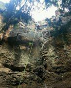 Rock Climbing Photo: Climber finishing Igneous Capitalist.