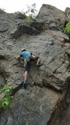Rock Climbing Photo: High stepping at the 2nd clip on Buckets of Rain.