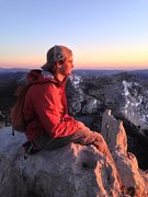 The amazing Aaron Pugh, enjoying a beautiful sunset atop Cathedral Peak.