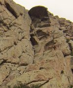 Rock Climbing Photo: Zach in the balancy section before the chimney.