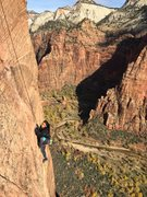 Lucy Brito reviewing prior lessons on Moonlight Buttress in Zion.