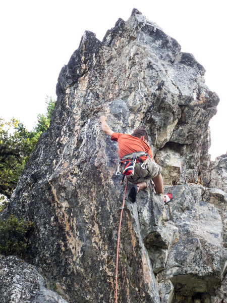 It may be a butt shot, but it does show the fun pretty clearly. There are many ways to do the arete, all very enjoyable!