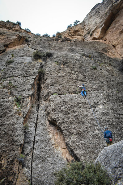Seems Like Old Times (5.8)<br> First lead in Ten Sleep Canyon with Ben Carper on belay