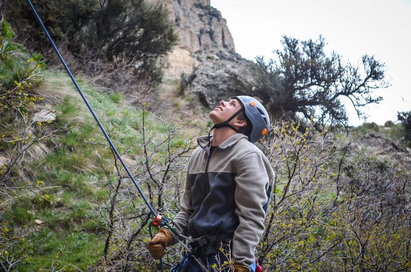 Rock Climbing Photo: Getting belayer's neck in Ten Sleep Canyon