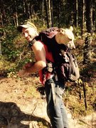 Rock Climbing Photo: For the ladders in the New River Gorge the puppy h...