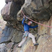 Rock Climbing Photo: Me getting ready to attempt the roof crux on P2 of...