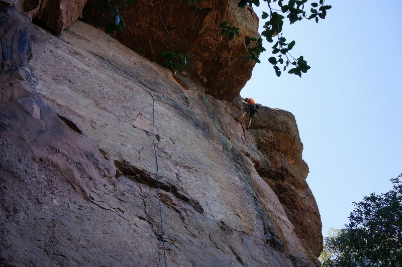 Rock Climbing Photo: crazy run out from the second bolt to the anchors.