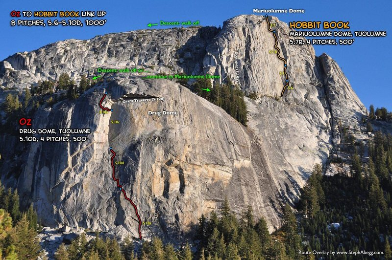 Route Overlay for Oz and Hobbit Book which makes for a great 1000'  linkup.
