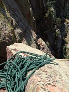 Rock Climbing Photo: climbers on the top of pitch 2 on Rewritten