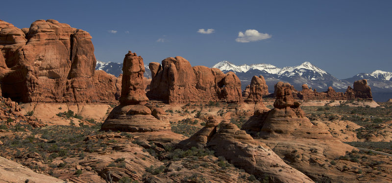 Arches National Park with La Sal mountains in the background.