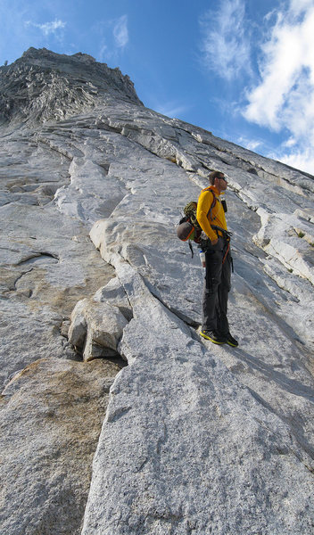 Rock Climbing Photo: Carl Erickson contemplating approaching storm clou...