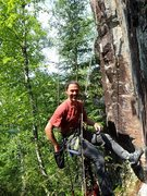 Rock Climbing Photo: Hanging cleaning at the second bolt and left foot ...