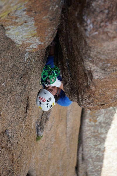 Rock Climbing Photo: Looking down into the wide slot.