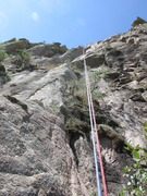 Rock Climbing Photo: Edge of the Pitch 1 belay ledge as seen from rappi...